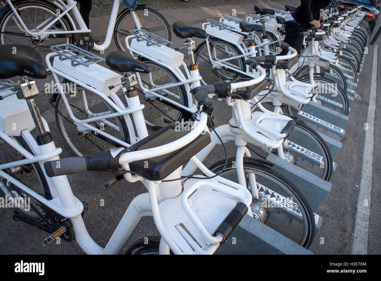 Bikes for hire along Bredgate in Copenhagen, Denmark. - Stock Image