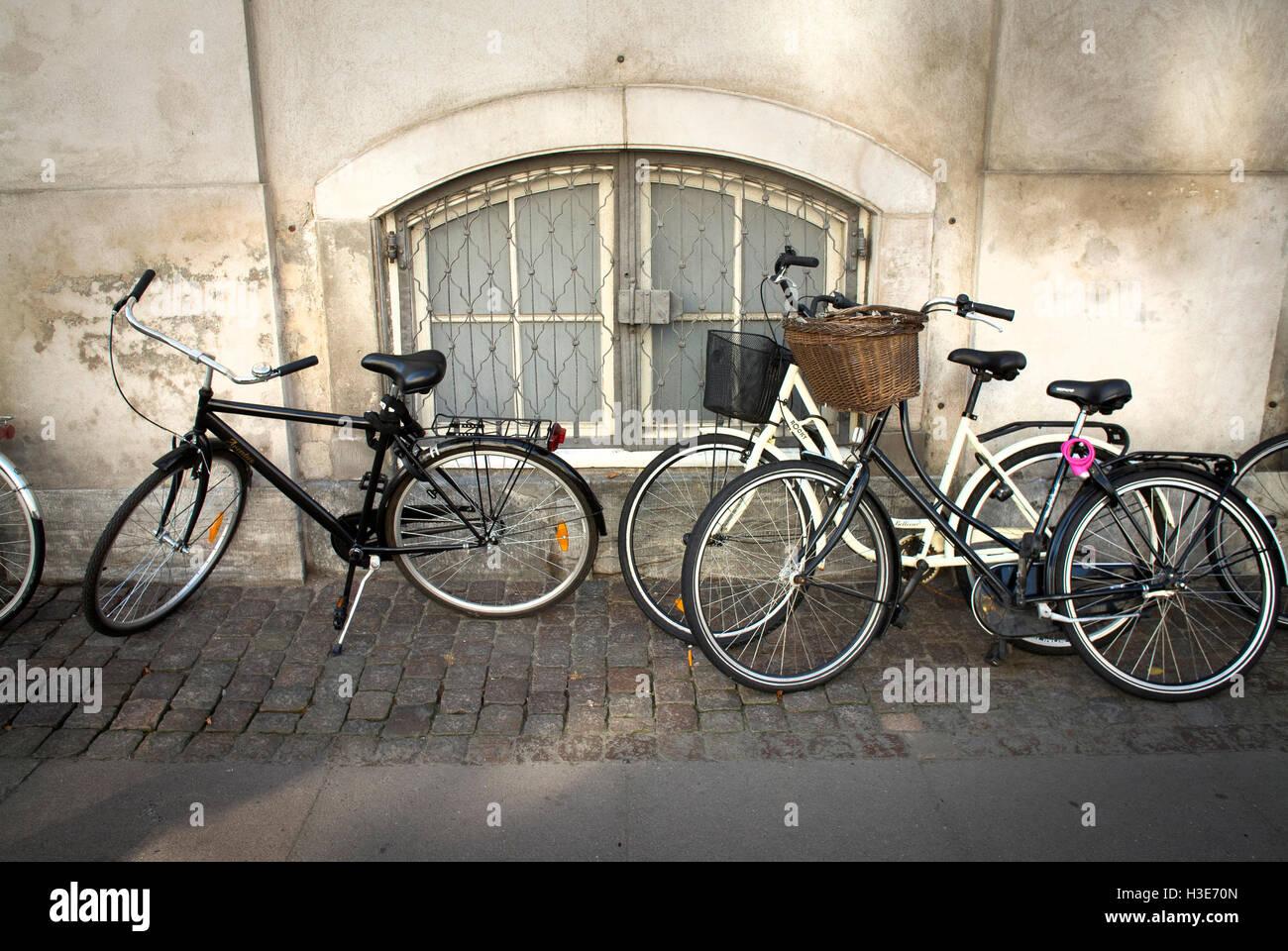 Push Bikes in Copenhagen,Denmark. - Stock Image