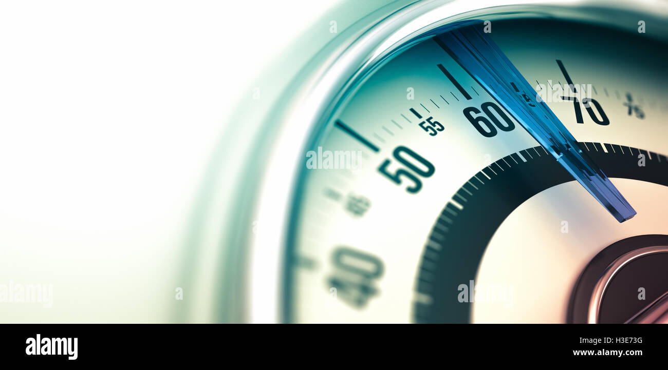 3D illustration of a bathroom scale, close up on the dial with copyspace on the left and depth of field. Horizontal - Stock Image
