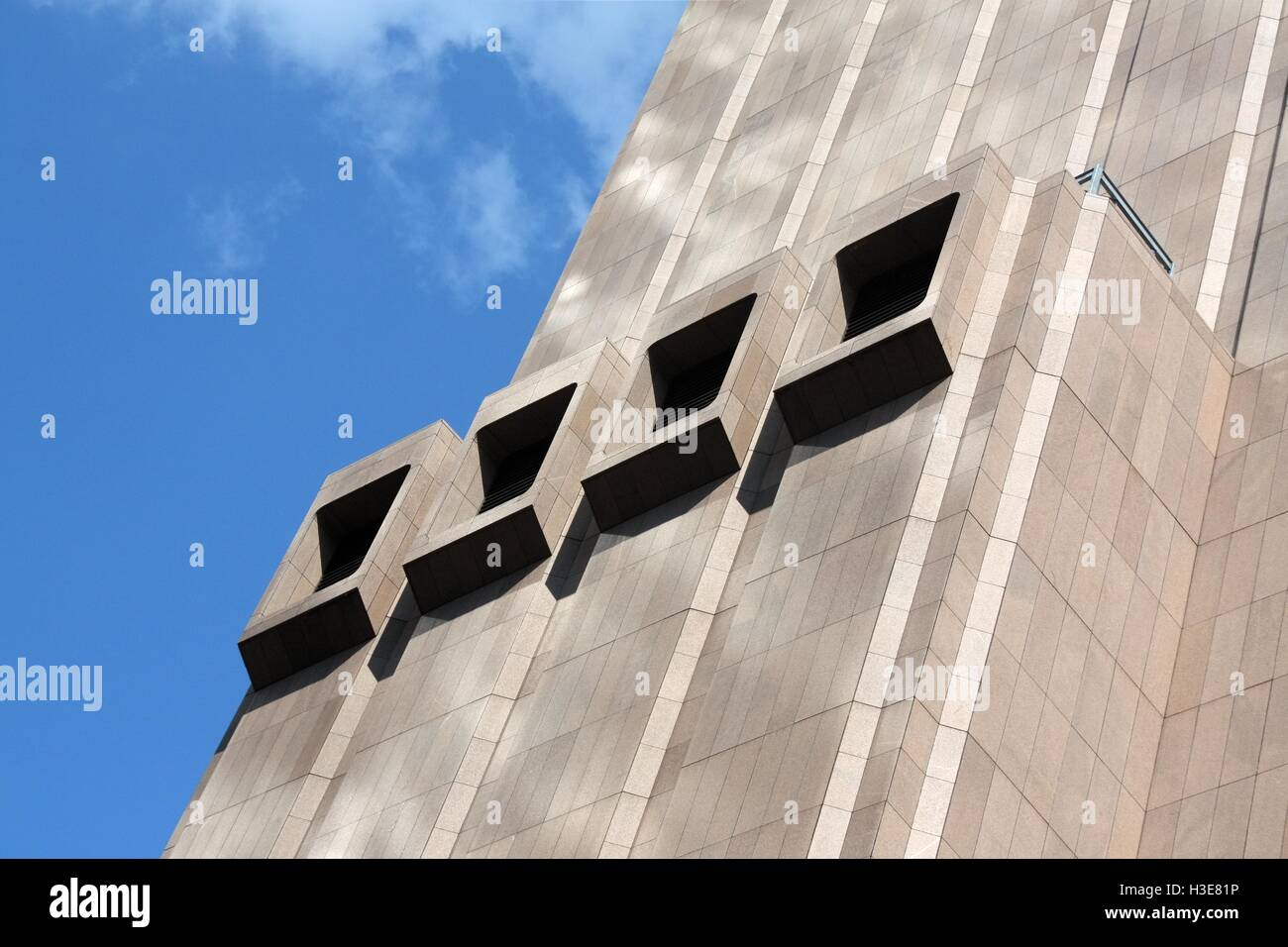 Protruding ventilation openings of AT&T Long Lines Building in Tribeca, New York. - Stock Image