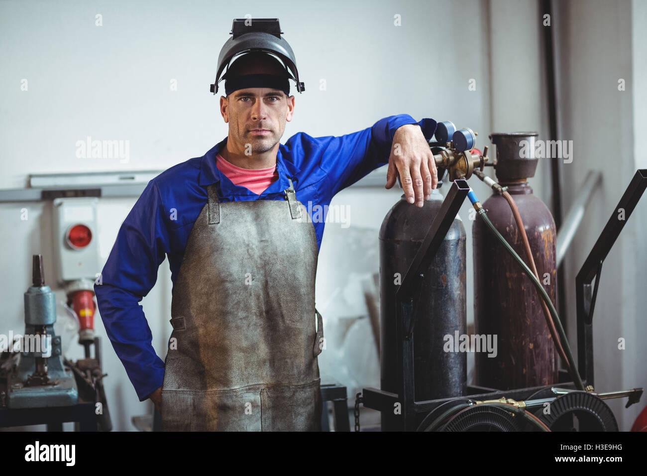 Portrait of male welder standing Stock Photo