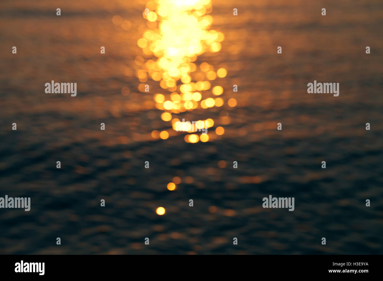 a sun glare on the water, beautiful background Stock Photo