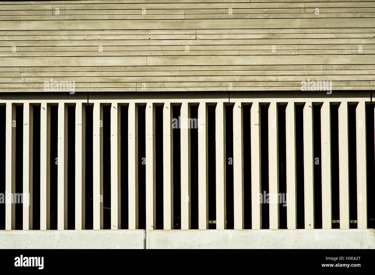Decorative Wood and Concrete Architectural Feature Building Cladding - Stock Image