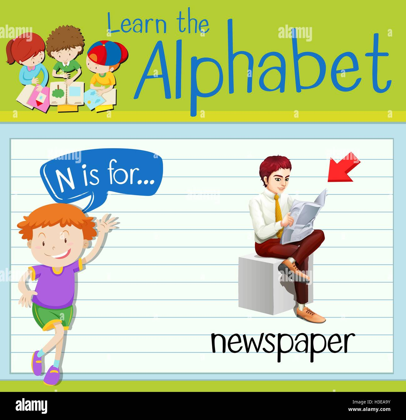 Flashcard letter N is for newspaper illustration - Stock Image