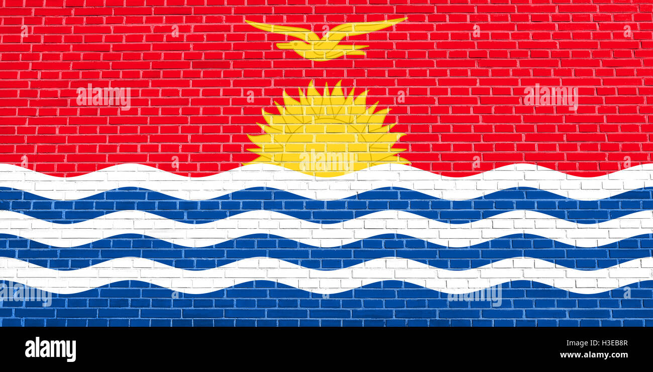 Kiribati national official flag. Patriotic symbol, banner, element, background. Accurate dimensions. Correct size, - Stock Image