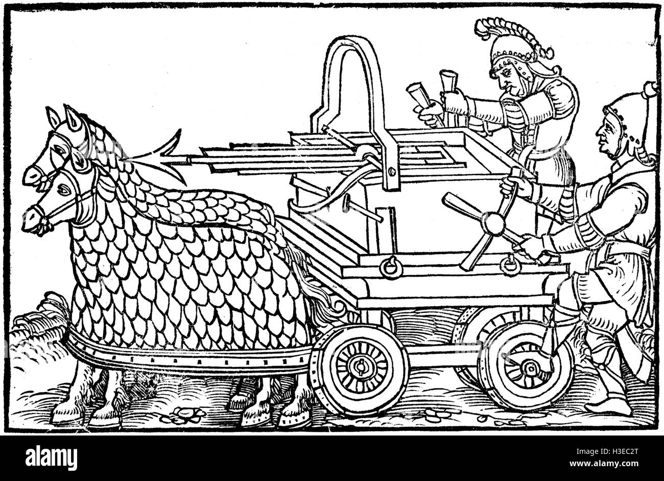 ROMAN HORSE DRAWN BALLISTA from De Rebus Bellicis (On The Things of War) published in 1552 being a reprint of a - Stock Image