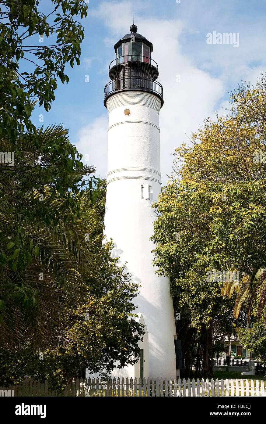 The historic Key West Lighthouse was decommissioned in 1969 and today serves as a beautiful historical museum. - Stock Image