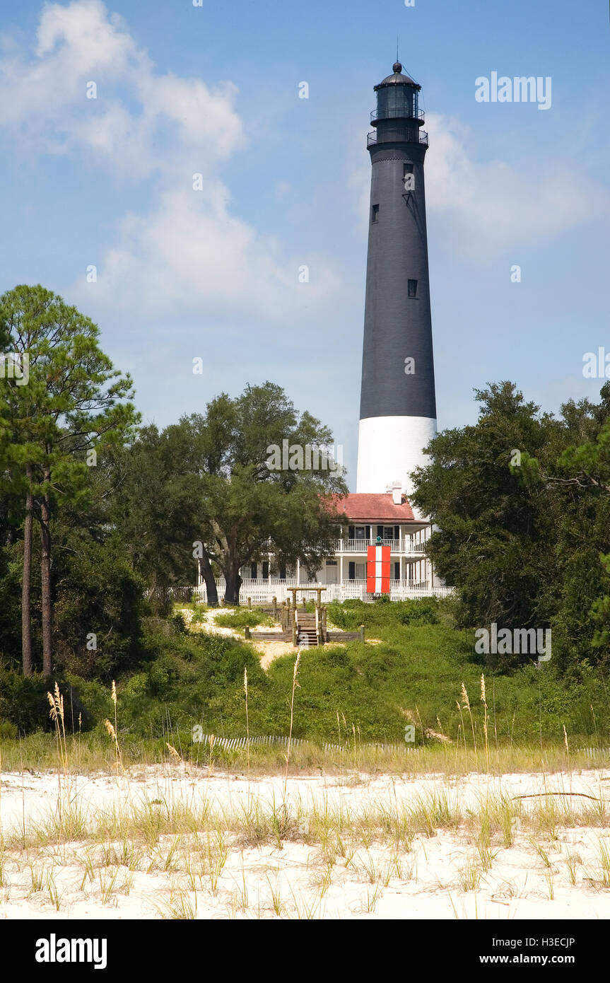 The US Government designated Pensacola as a Naval base in 1824 & authorized a lighthouse making it the oldest - Stock Image