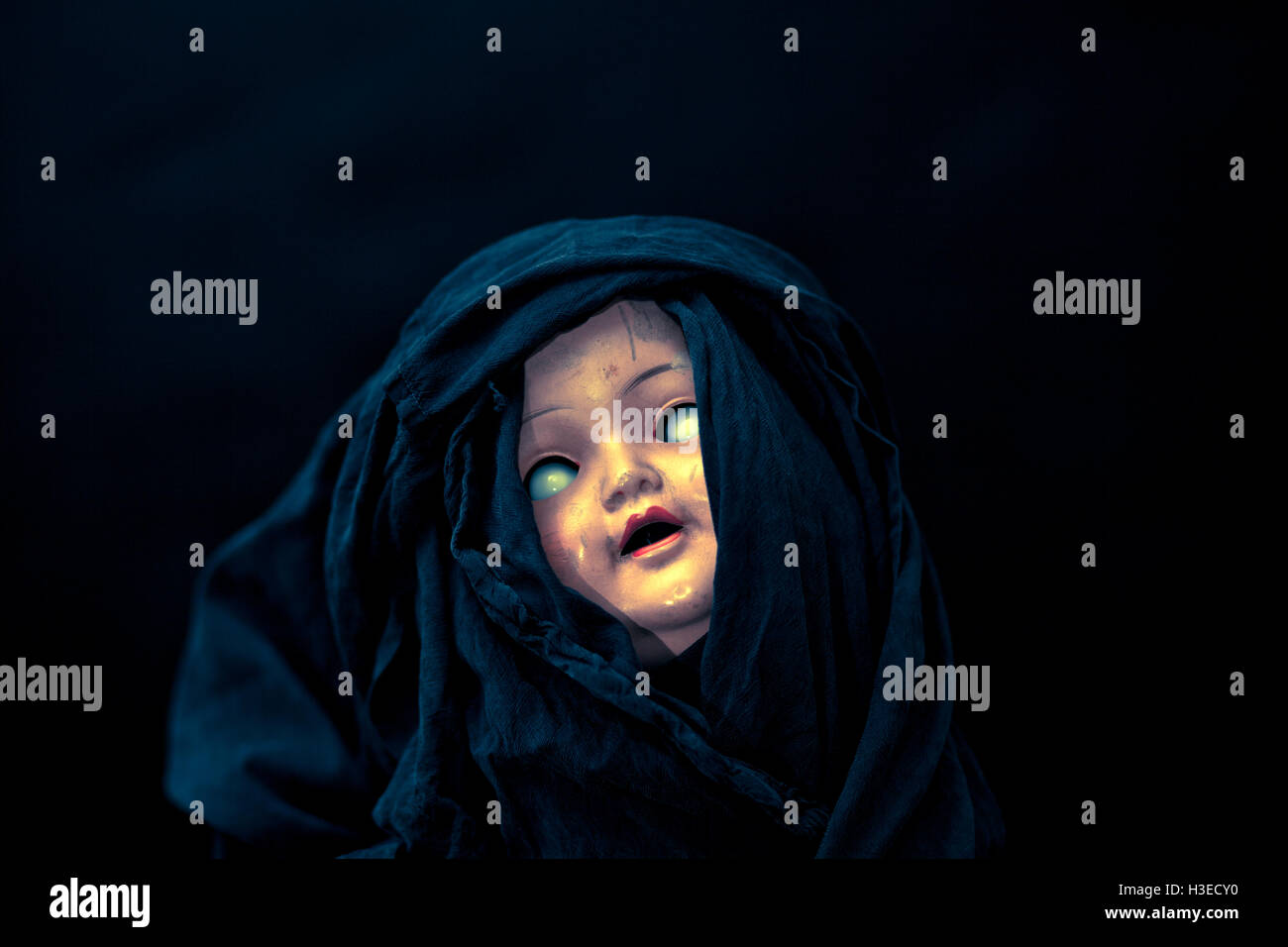 Creepy doll face - Stock Image