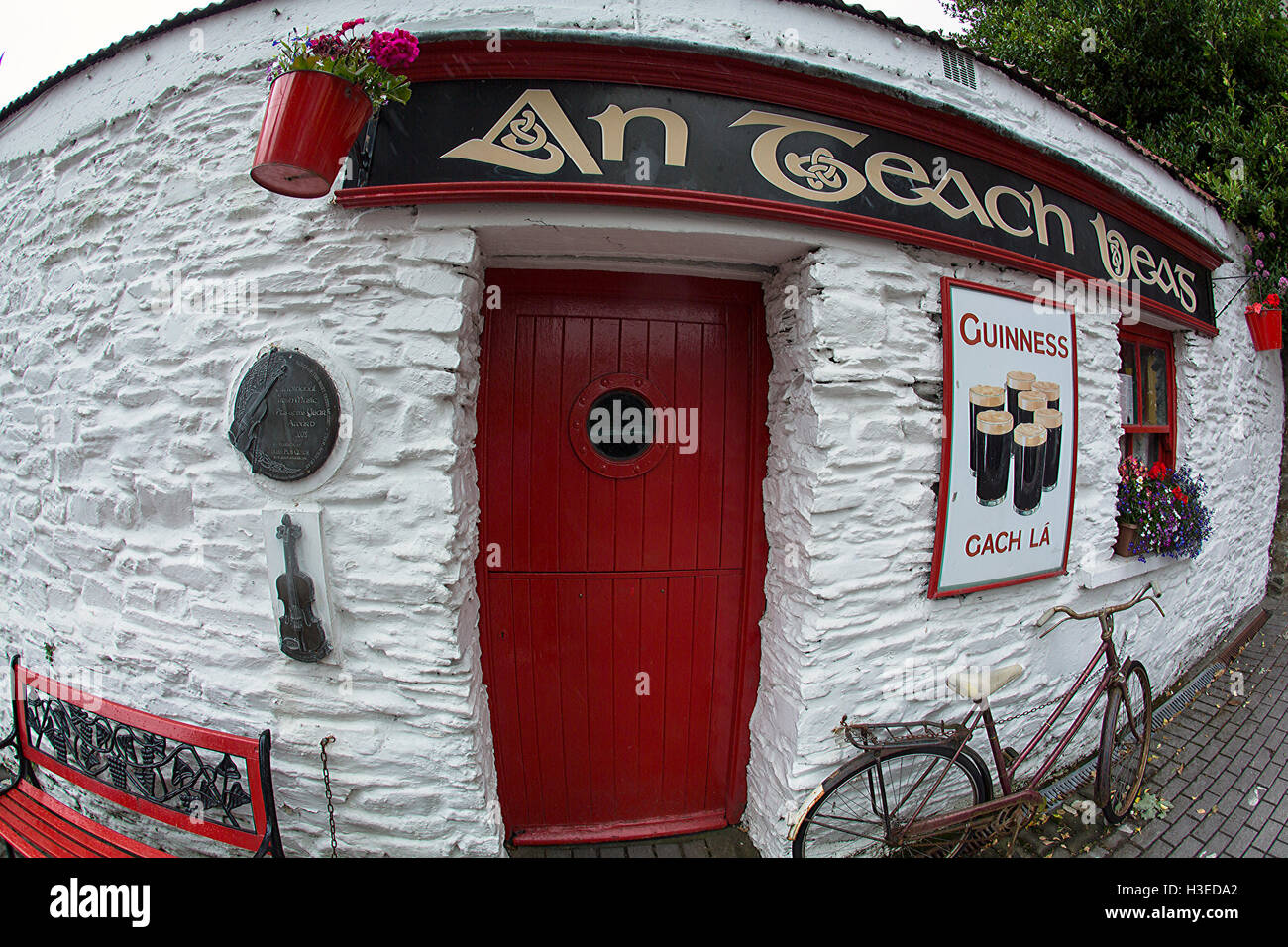 colourful clonakilty with a fish eye lens west cork ireland - Stock Image
