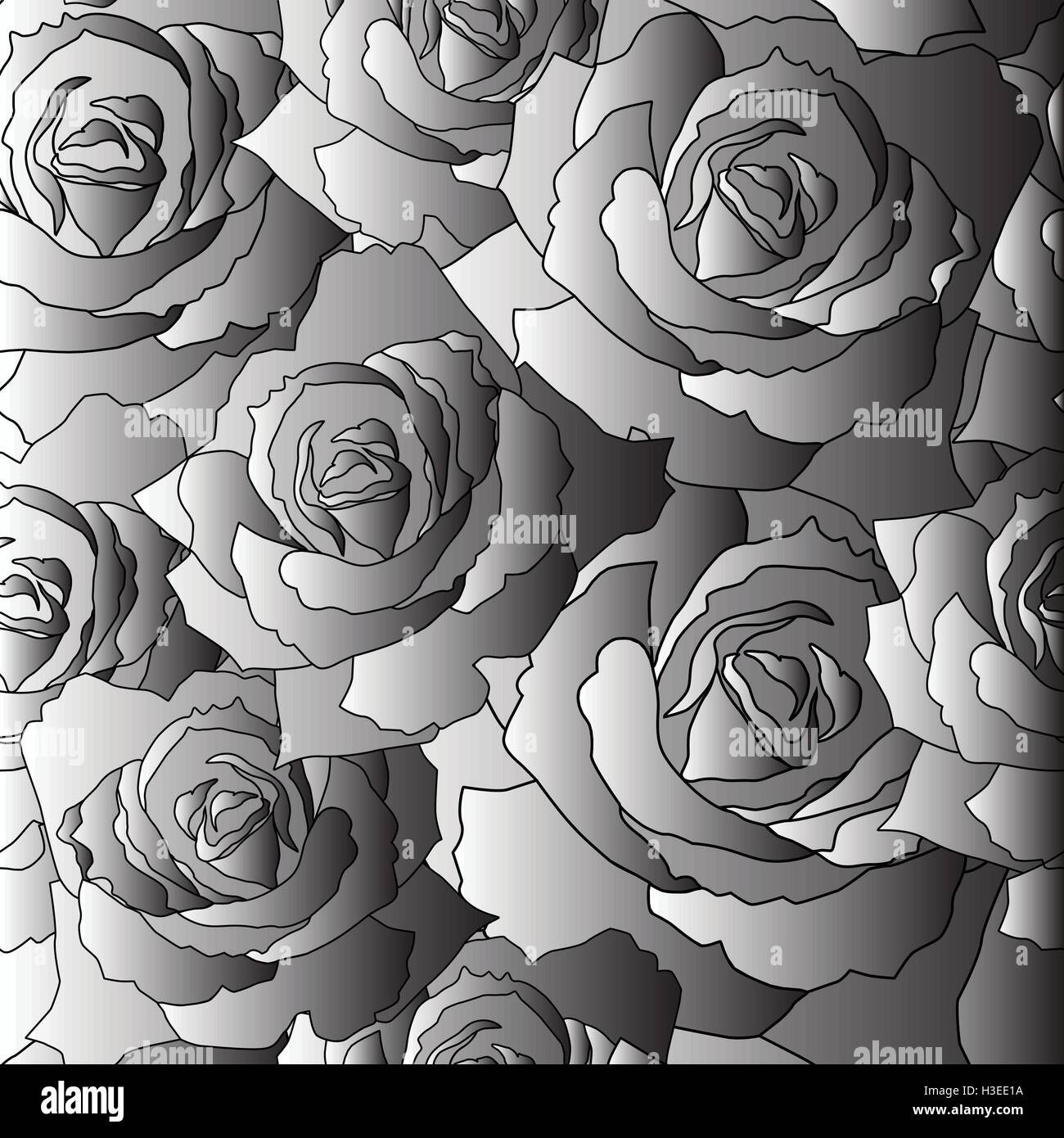 Seamless vector pattern of the stylised roses - Stock Image