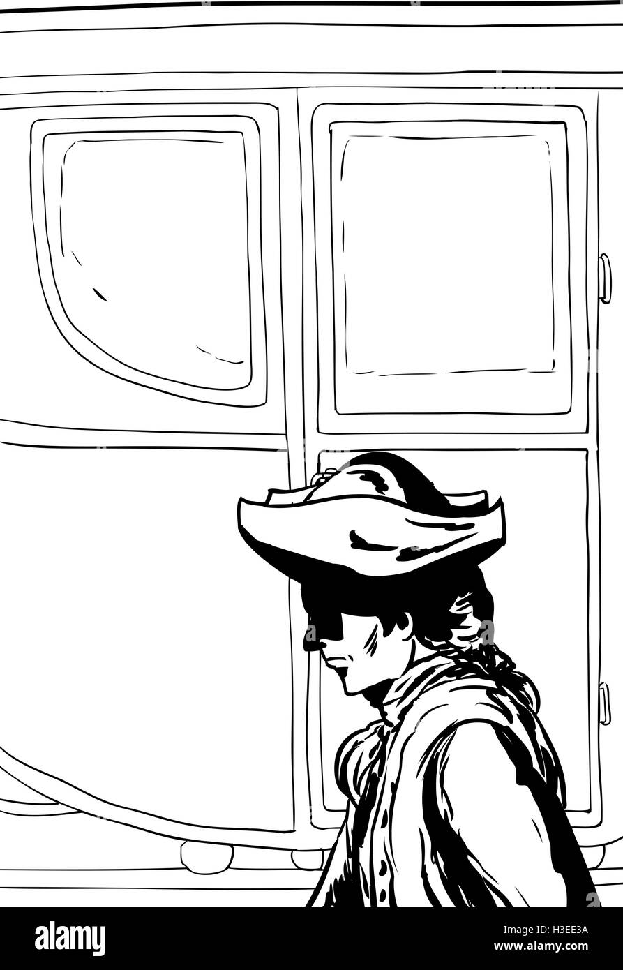 Outlined side view of 18th century man in hat walking past fancy empty buggy - Stock Image