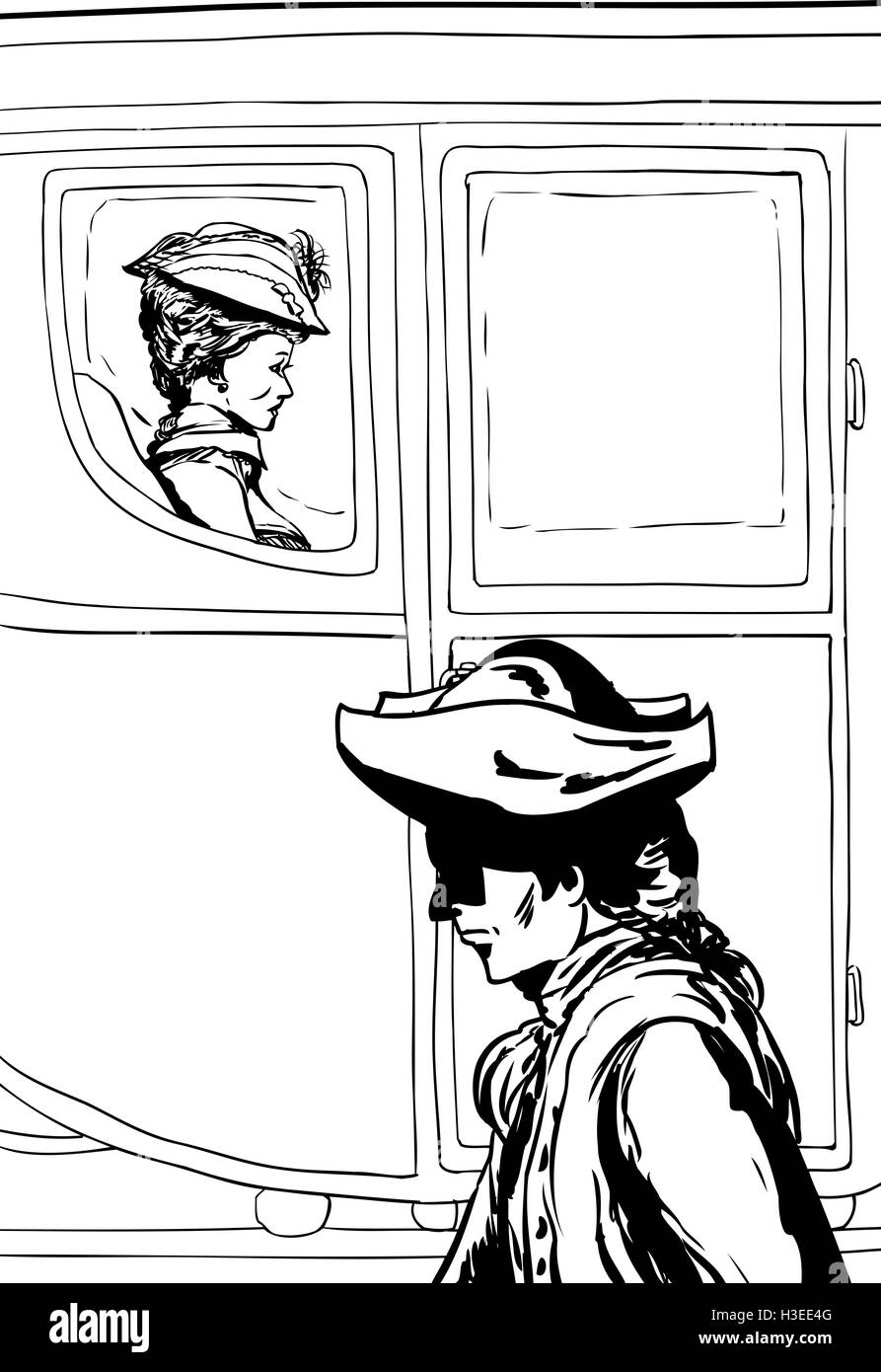 Man in tricorn hat walking past wealthy 18th century woman carriage with glass windows - Stock Image