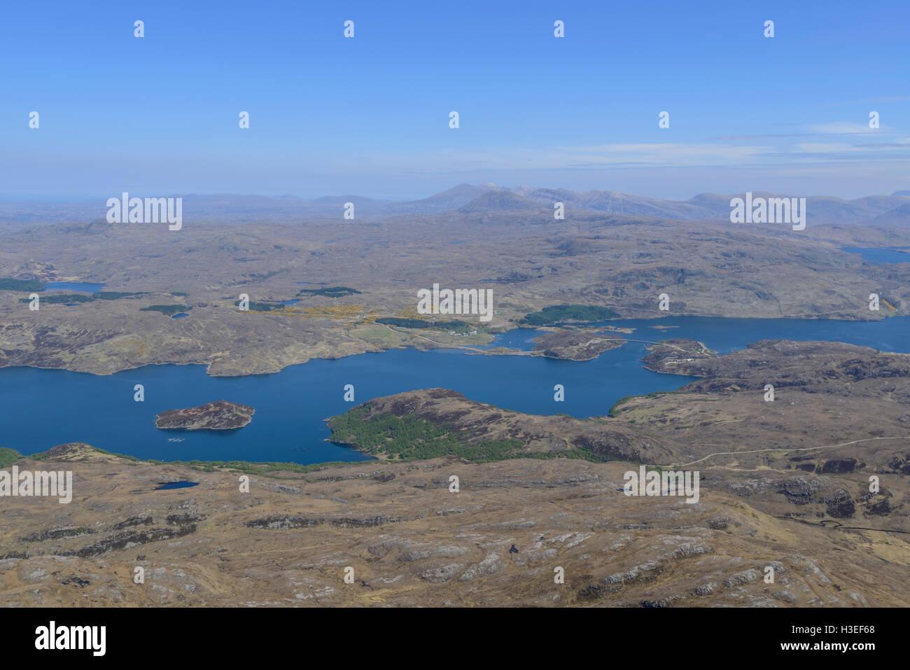 Laxford Bridge, Loch a' Chairn Bhain and Kylesku from Sail Ghorm (Corbett), Quinag, Assynt, Sutherland, Scotland. - Stock Image