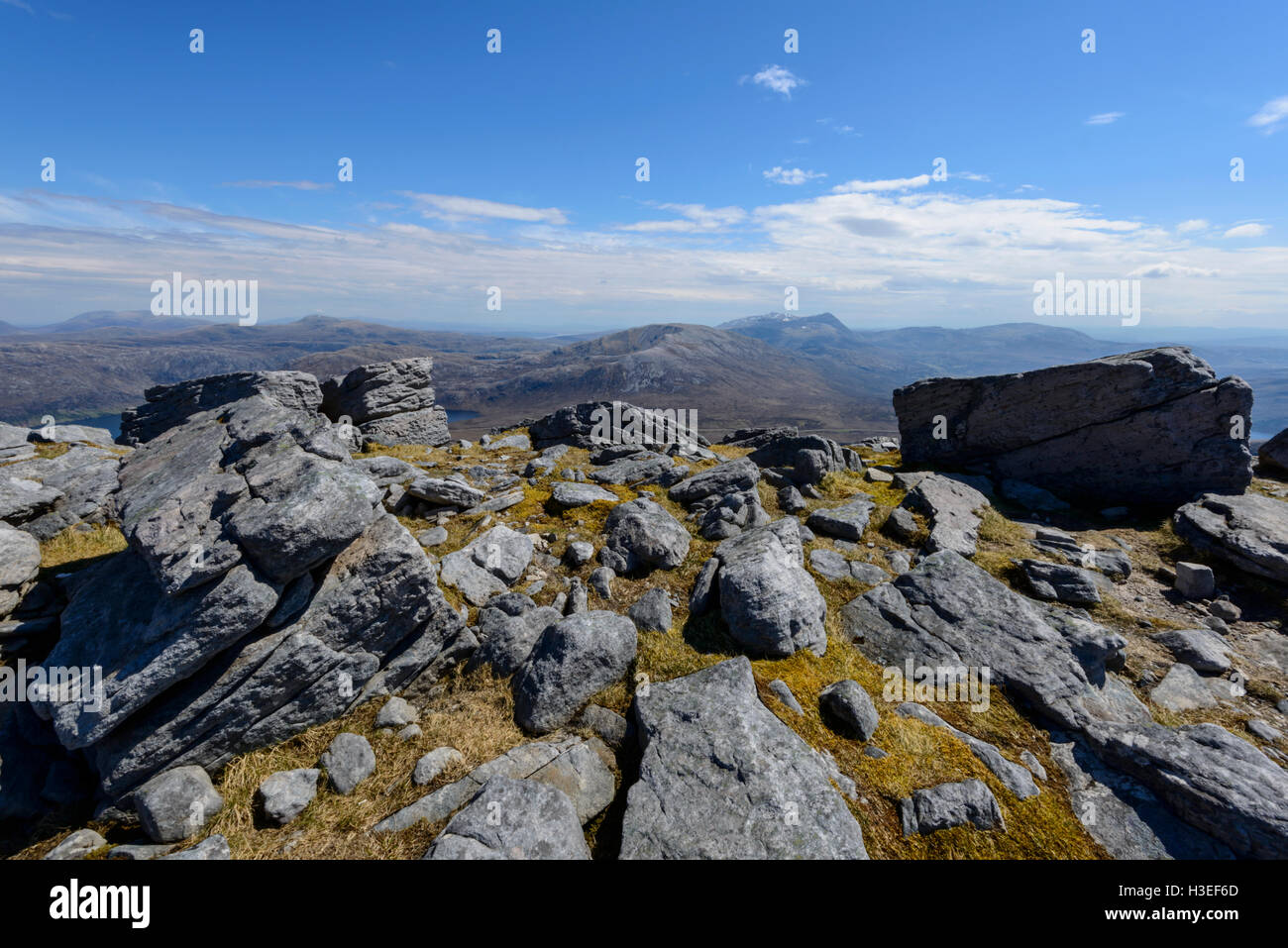 Glas Bheinn (Corbett) and the Munros of Conival and Ben More Assynt behind from Sail Gharbh (Corbett), Quinag, Assynt - Stock Image