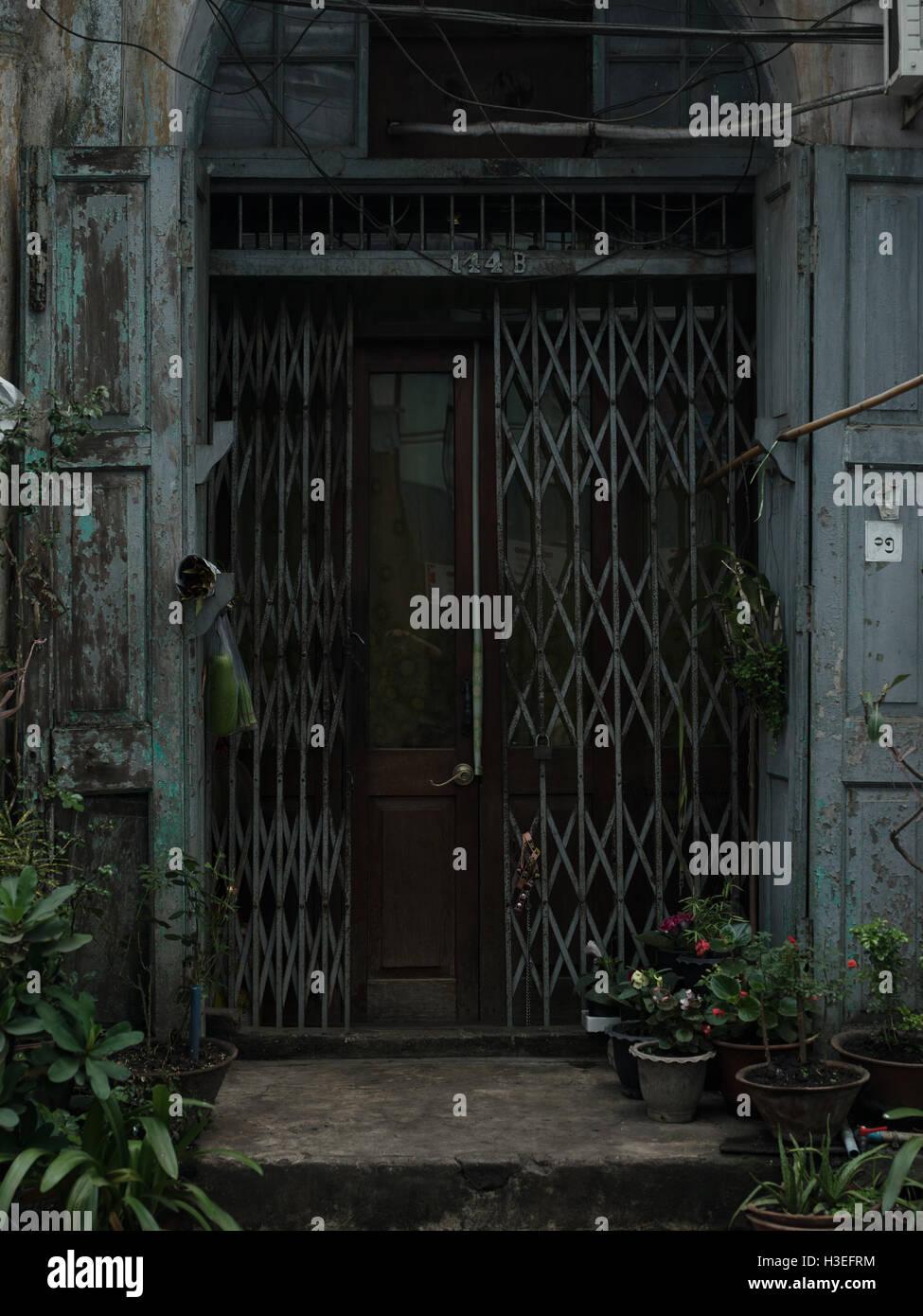Doorway in Yangon, Myanmar (Burma) - Stock Image