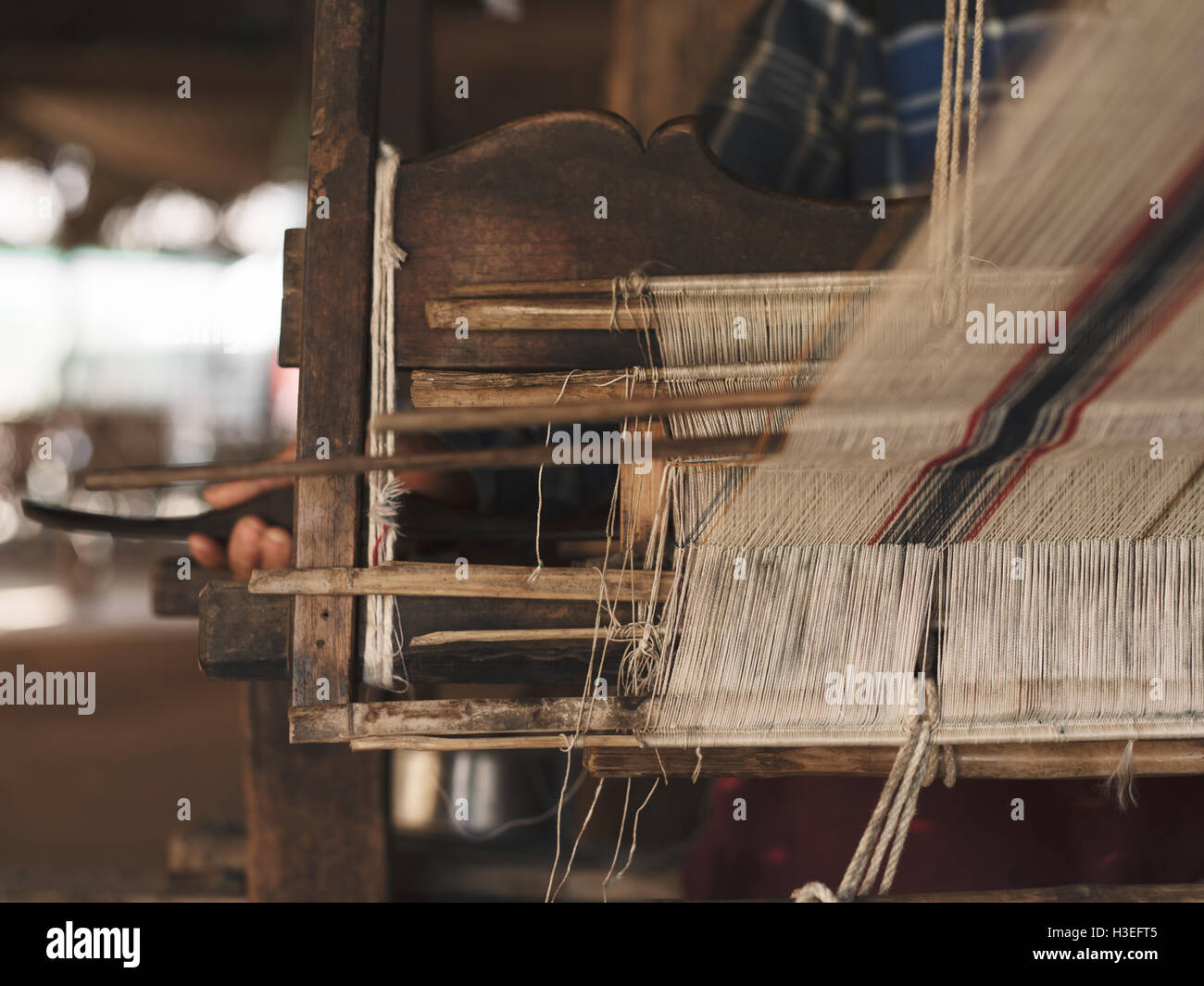 Closeup of the process of weaving in the Bagan Villages of Myanmar (Burma) - Stock Image