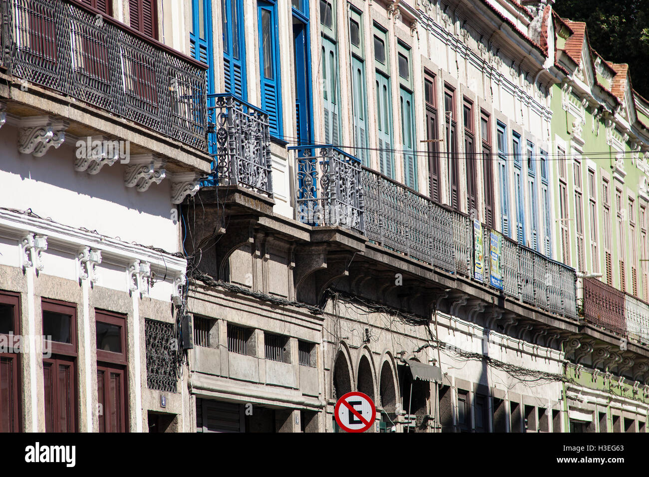 Preserved sobrados, two or more story ancient houses from the colonial and imperial periods in Brazil at Rua do - Stock Image