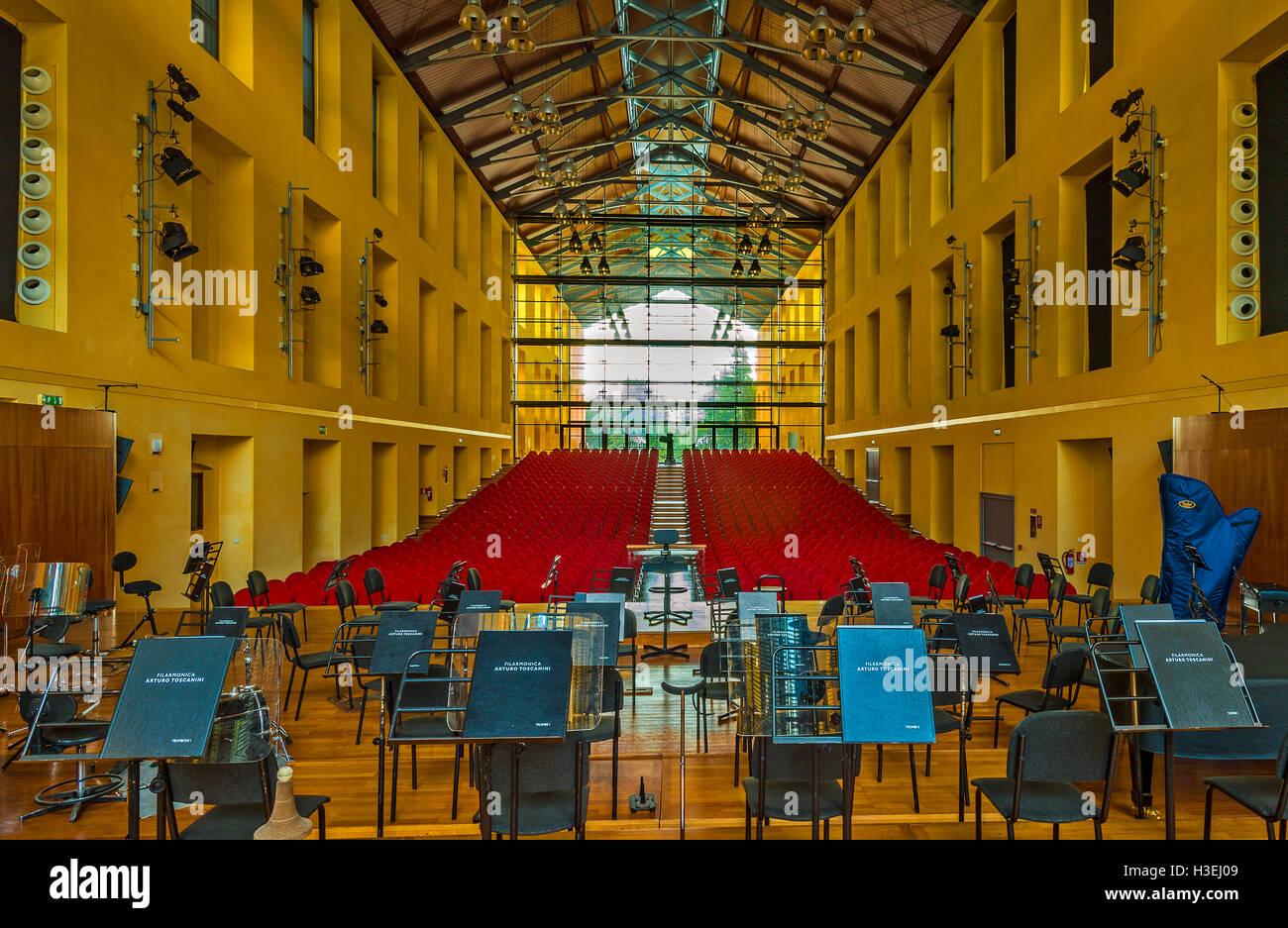 Italy Emilia Romagna Parma Auditorium Paganini Prejected By Renzo Piano Stock Photo