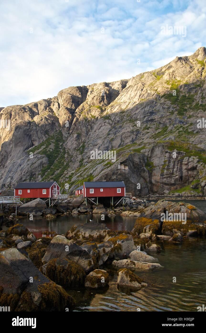 Fisherman`s cabins in Lofoten, Norway - Stock Image