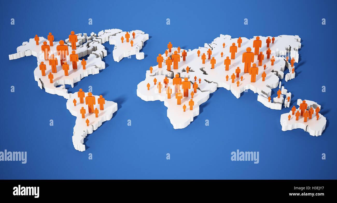 Stick figures standing on world map. 3d illustration. - Stock Image