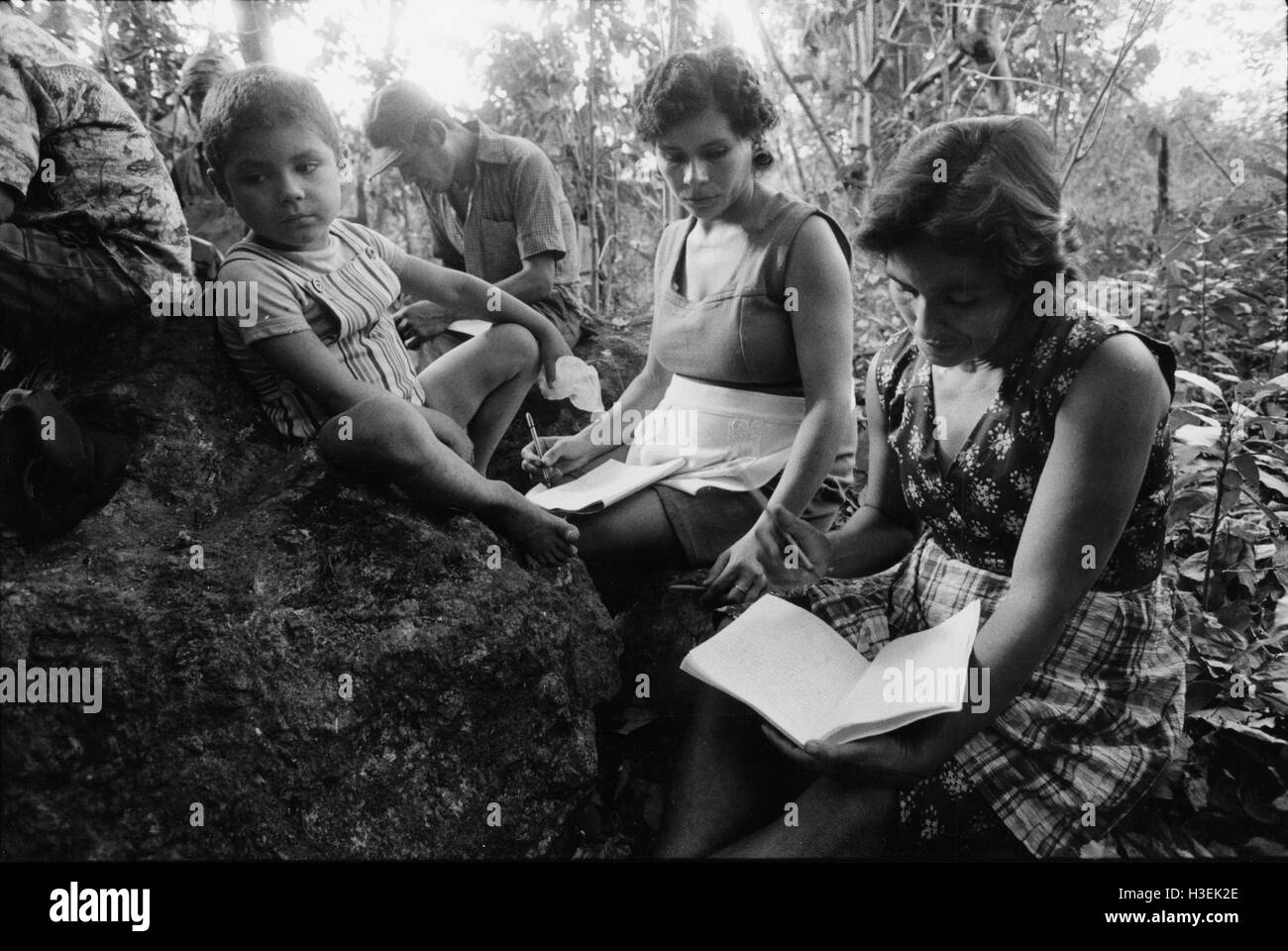 GUAZAPA, EL SALVADOR, FEB 1984: - Within the FPL Guerrilla's Zones of Control - an adult literacy class held - Stock Image