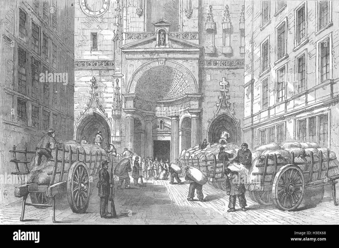 RHÔNE Storing Flour in the church of St Nizier, Lyons 1870. The Illustrated London News - Stock Image