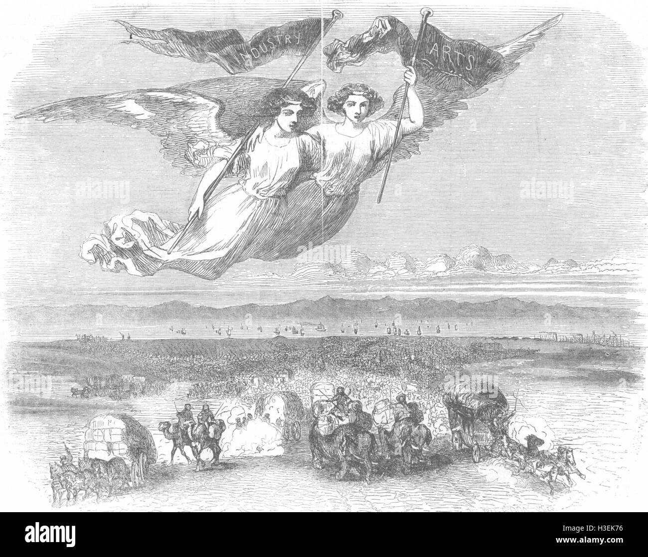 SOCIETY The Gathering of the Nations-Allegorical design by Johannot 1851. The Illustrated London News - Stock Image