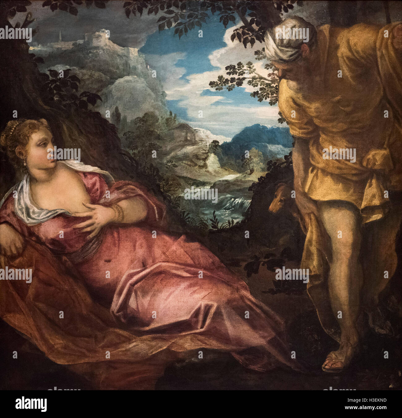 Tintoretto - Jacopo Robusti (1518-1594),  The Meeting of Tamar and Judah, ca. 1555-1558. Stock Photo