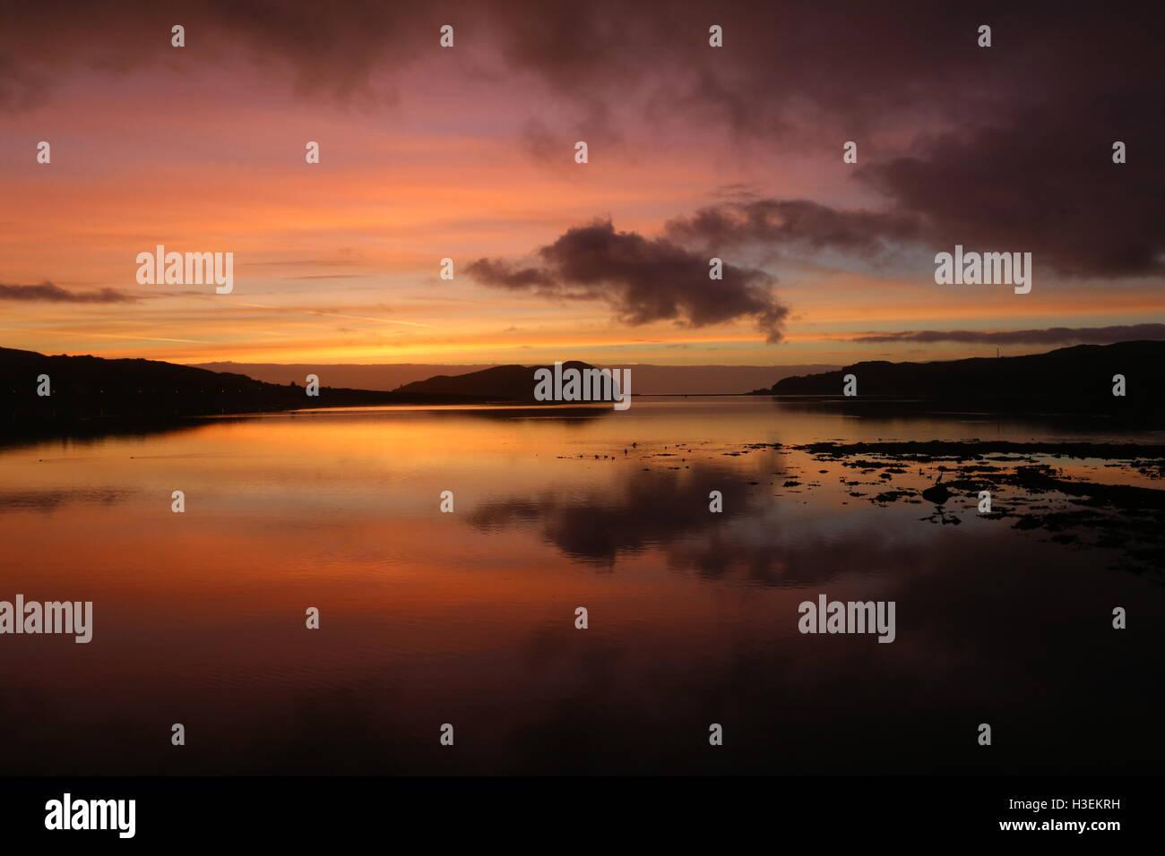 Sunrise over Davaar Island and Campbeltown Loch Kintyre Scotland  September 2016 - Stock Image