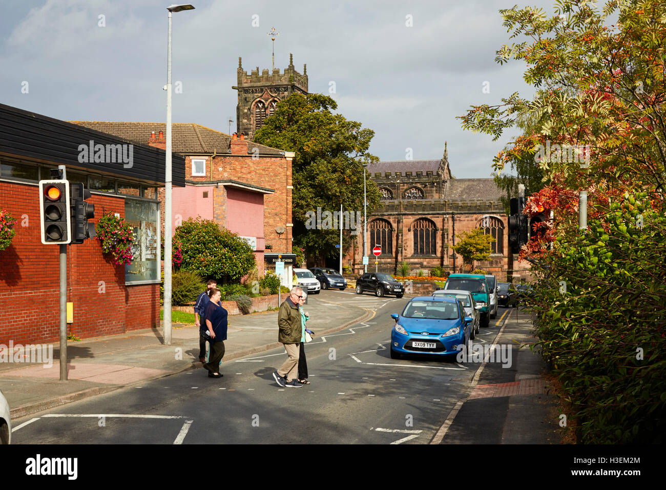 Middlewich, pedestrians crossing road - Stock Image