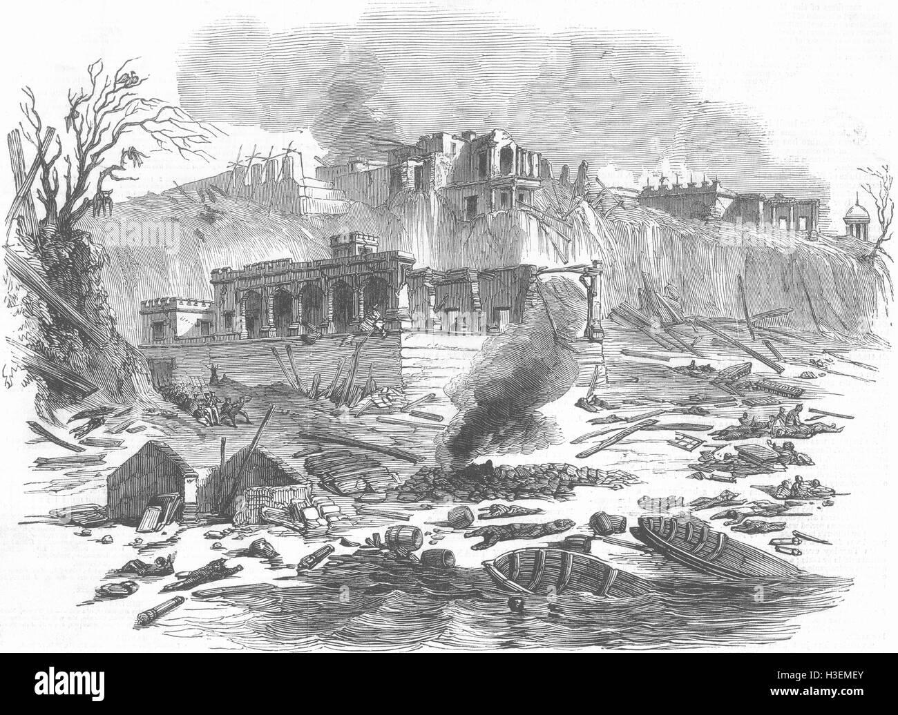 INDIA Explosion, Raj Ghat Ferry, Varanasi 1850. Illustrated London News - Stock Image