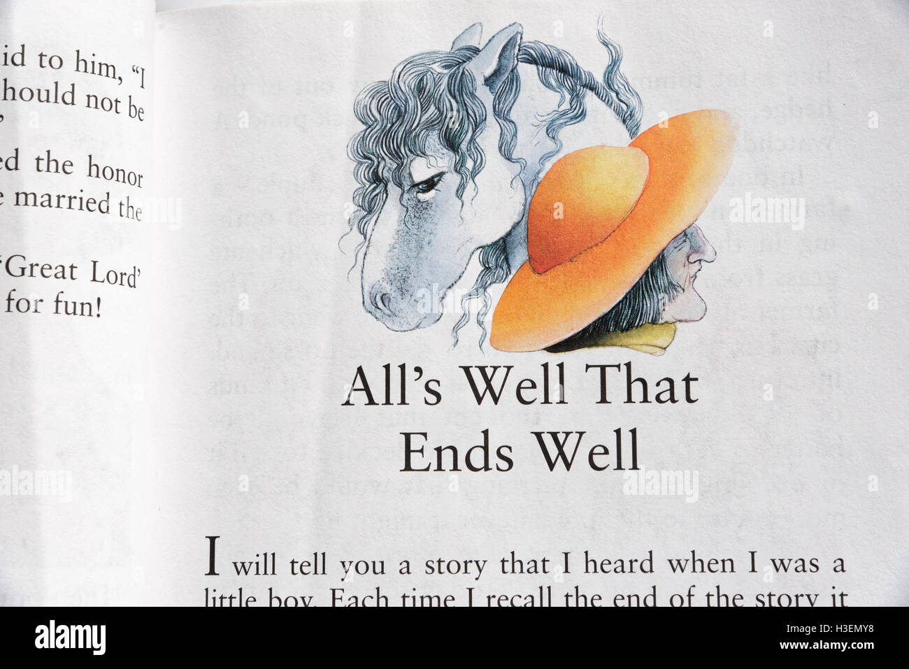 All's Well That Ends Well in a book of Fairy Tales - Stock Image