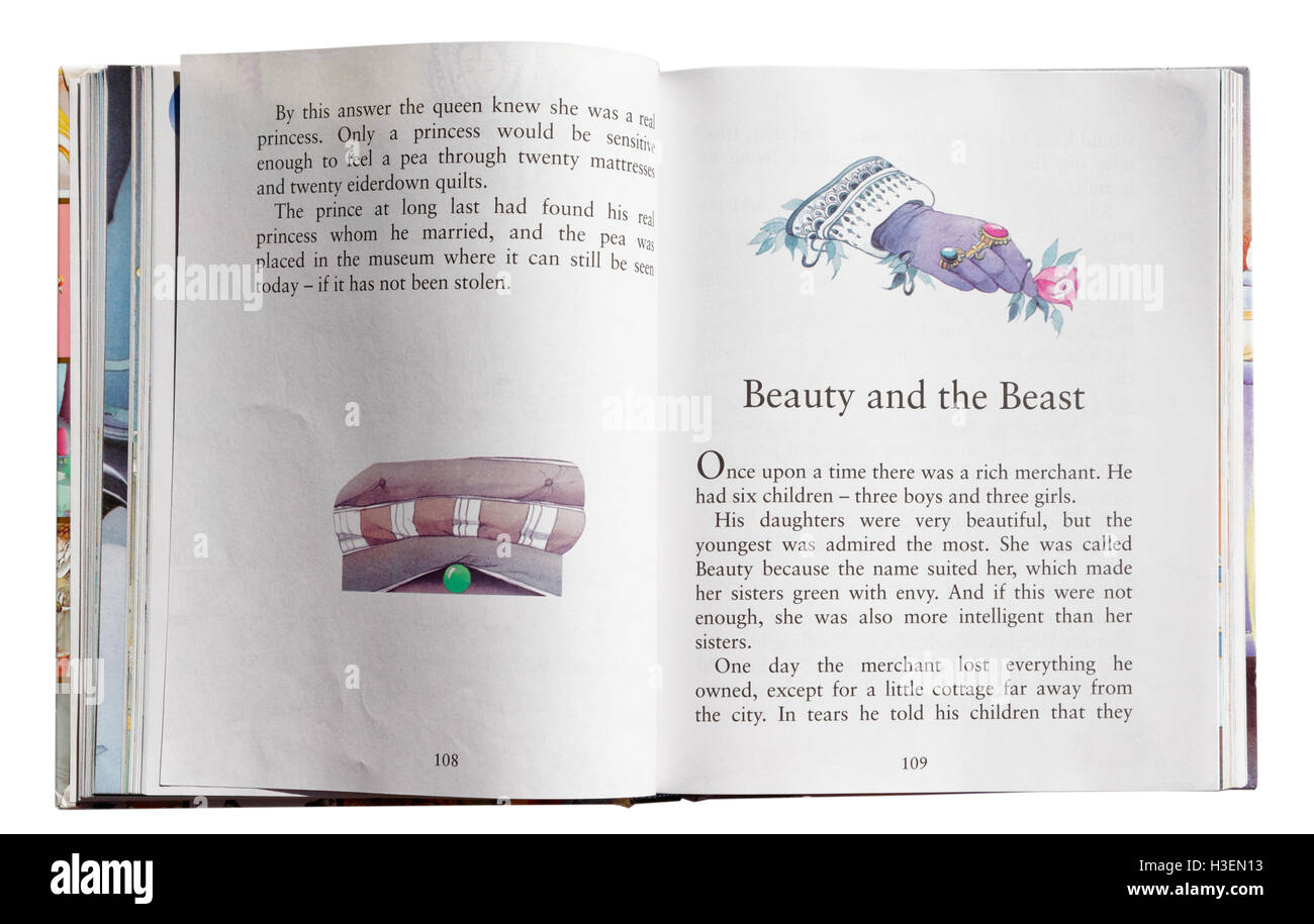 Beauty and the Beast in a book of Fairy Tales - Stock Image