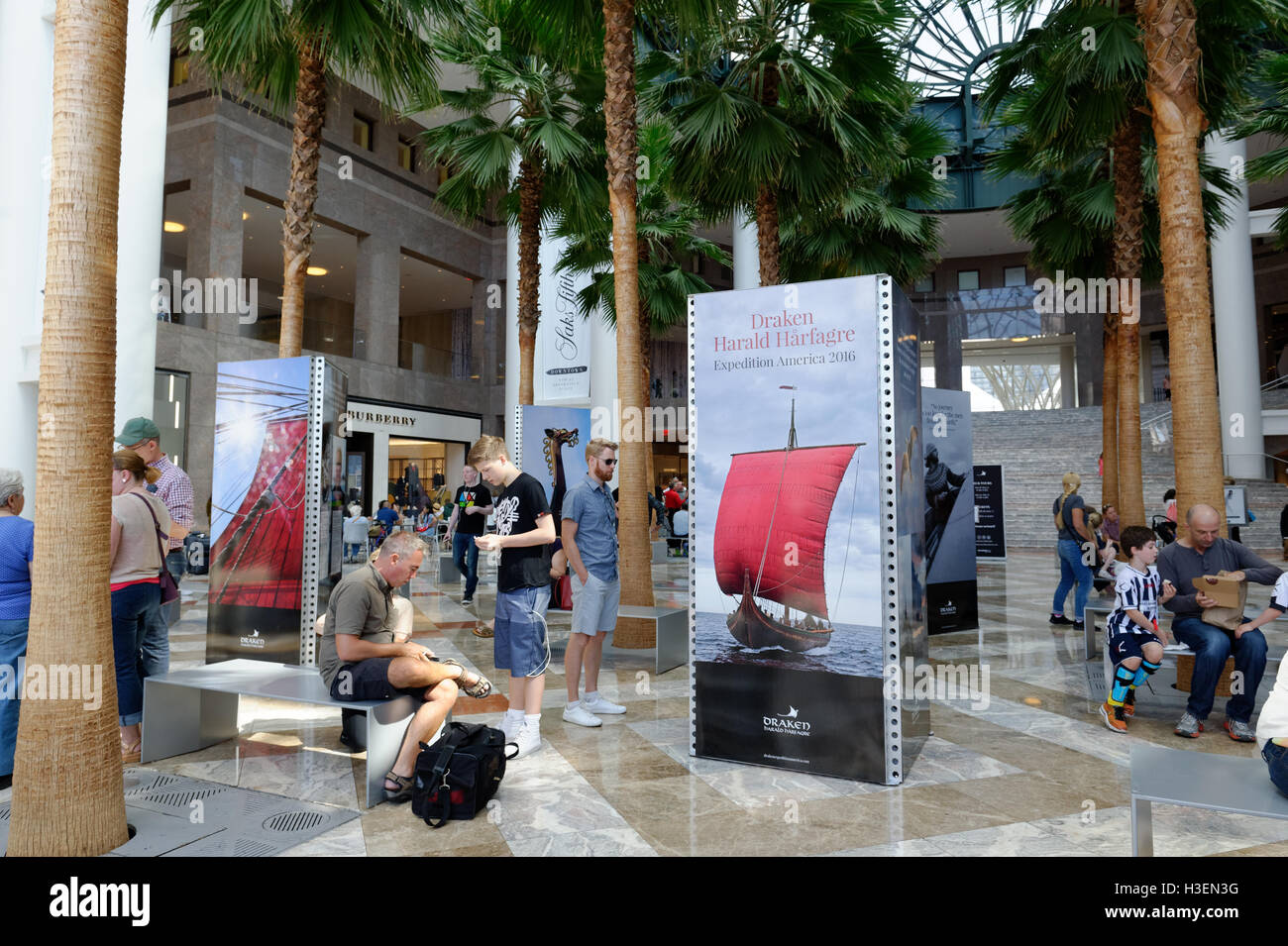 An exhibition associated with the Viking longship, Draken Harald Harfagre, in the Winter Garden at Brookfield Place. - Stock Image