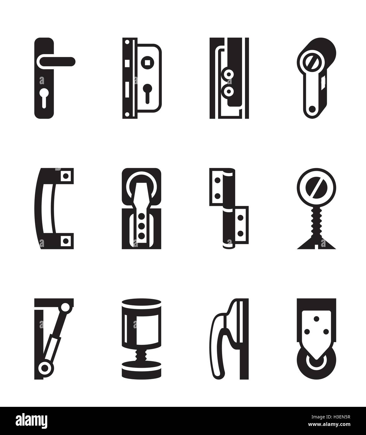 Interior and exterior fasteners - vector illustration - Stock Image