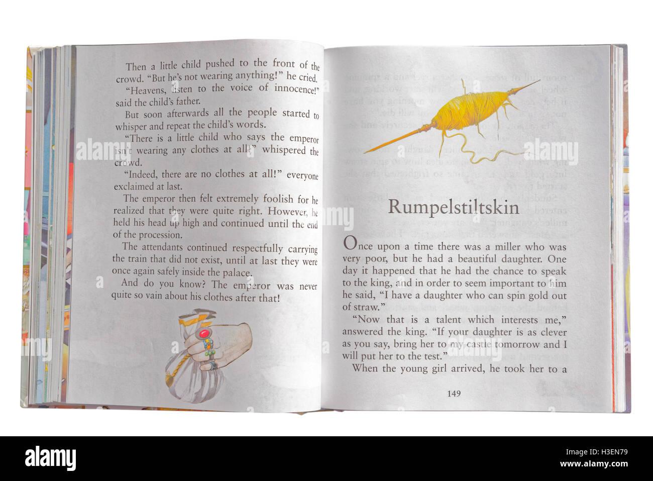 Rumpelstiltskin in a book of Fairy Tales - Stock Image