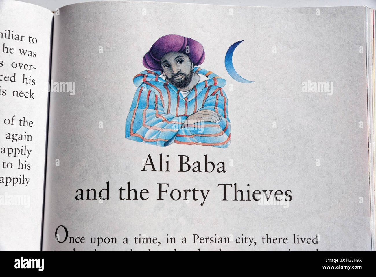 Ali Baba and the Forty Thieves in a book of Fairy Tales - Stock Image