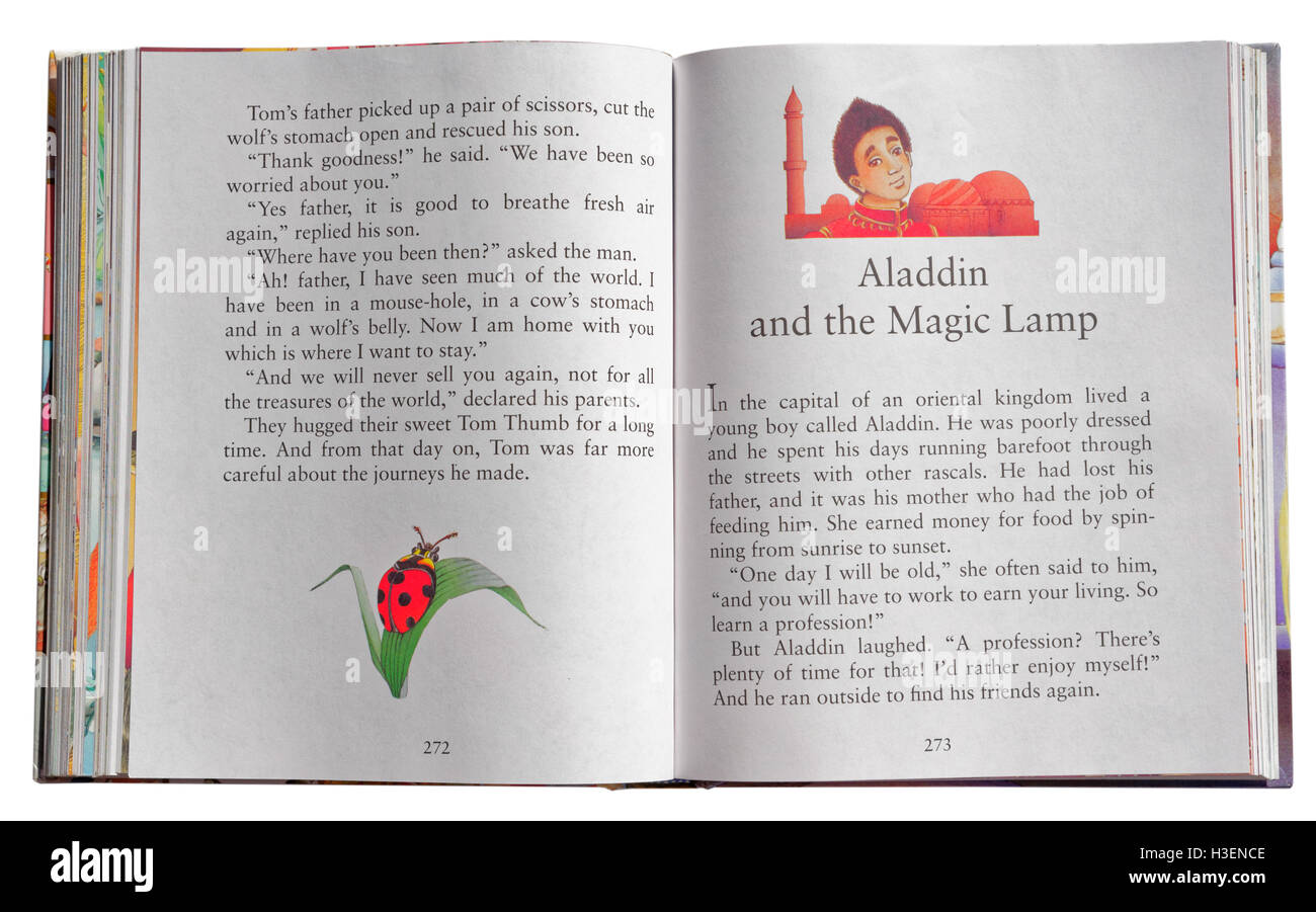 The Story Of Aladdin Stock Photos Books Aladin And Magic Lamp In A Book Fairy Tales Image