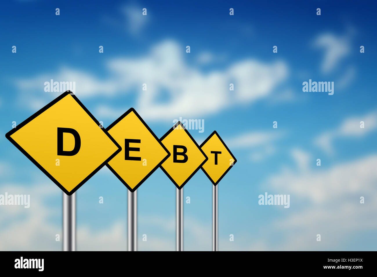 debt on yellow road sign with blurred sky background - Stock Image