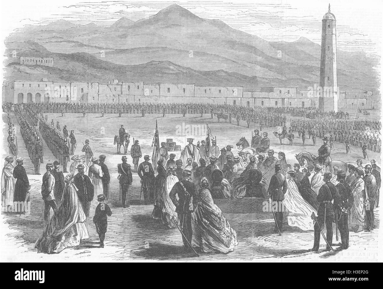 YEMEN Presentation of Colours to 109 Regiment, Aden 1866. Illustrated London News - Stock Image