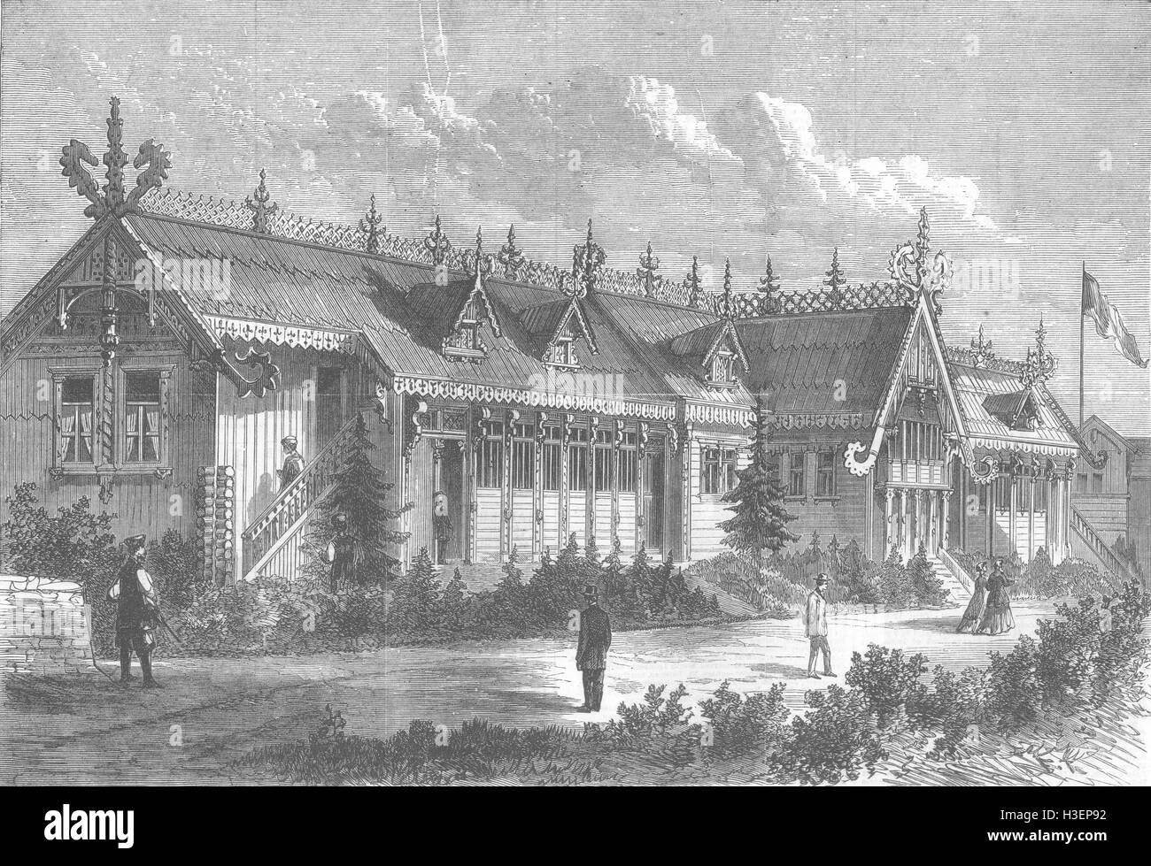 FRANCE Paris Expo Russian Stables 1867. Illustrated London News - Stock Image