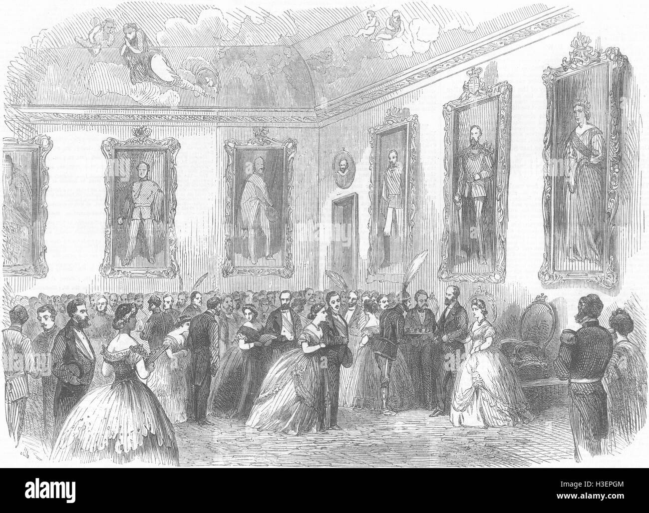 SWEDEN Ball given by Queen Dowager, Drottningholm 1864. Illustrated London News - Stock Image