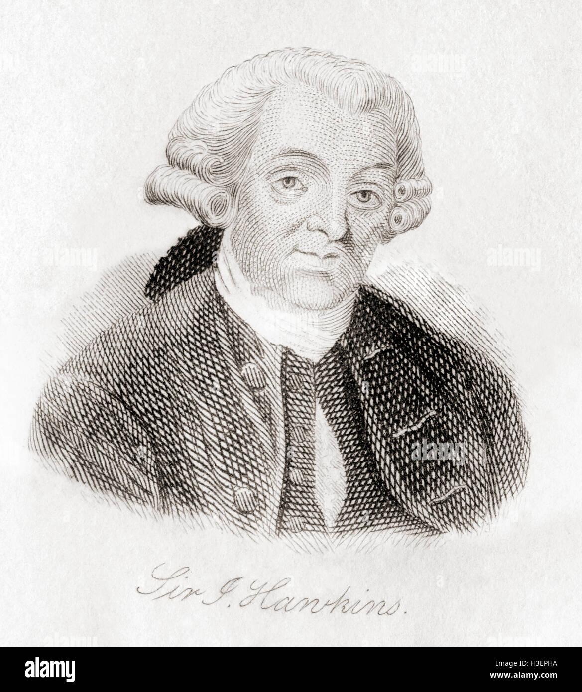 Sir John Hawkins,  1719 – 1789.  English author. - Stock Image