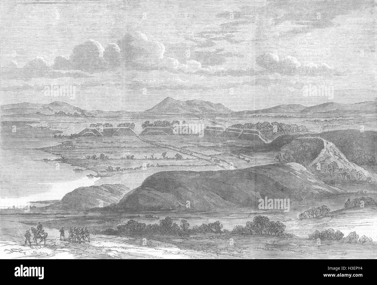 GERMANY Semicircular Rampart, Dannewerk, Bustrup 1864. Illustrated London News - Stock Image