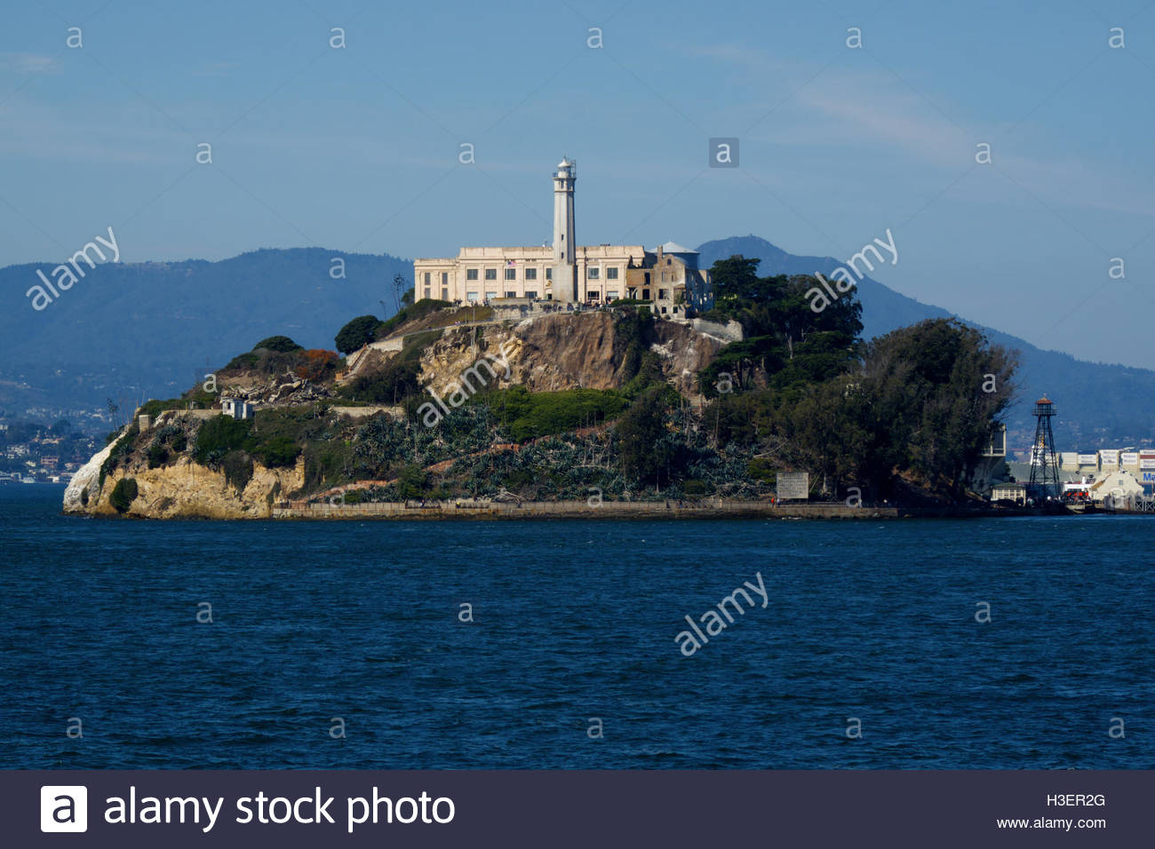 Alcatraz Federal Penitentiary from a tour boat in the San Francisco Bay, San Francisco, California. - Stock Image