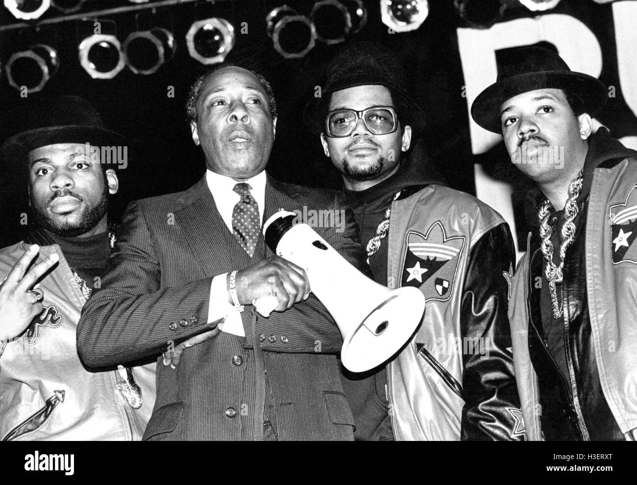 Run DMC an dJoe Clark, Principal of Easide High School performing at Eastside High School in New Jersey on February - Stock Image