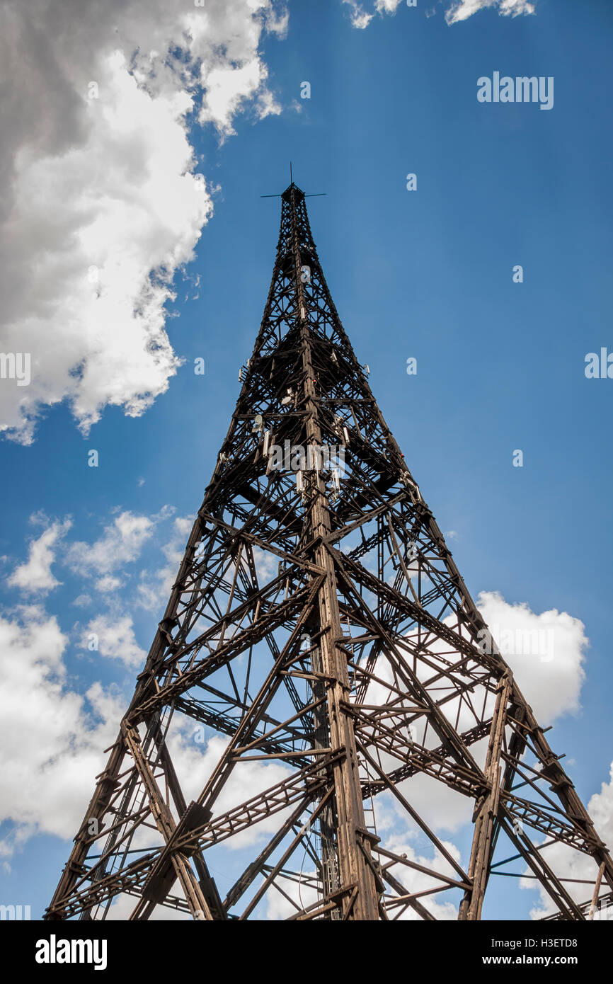 Historic radiostation tower in Gliwice, Poland (the highest wooden building on the world - 111m). The place of Nazi - Stock Image