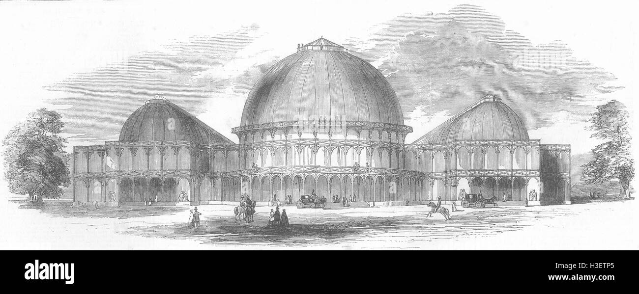 IRELAND Exhibition building, Merrion Sq west, Dublin 1852. Illustrated London News - Stock Image