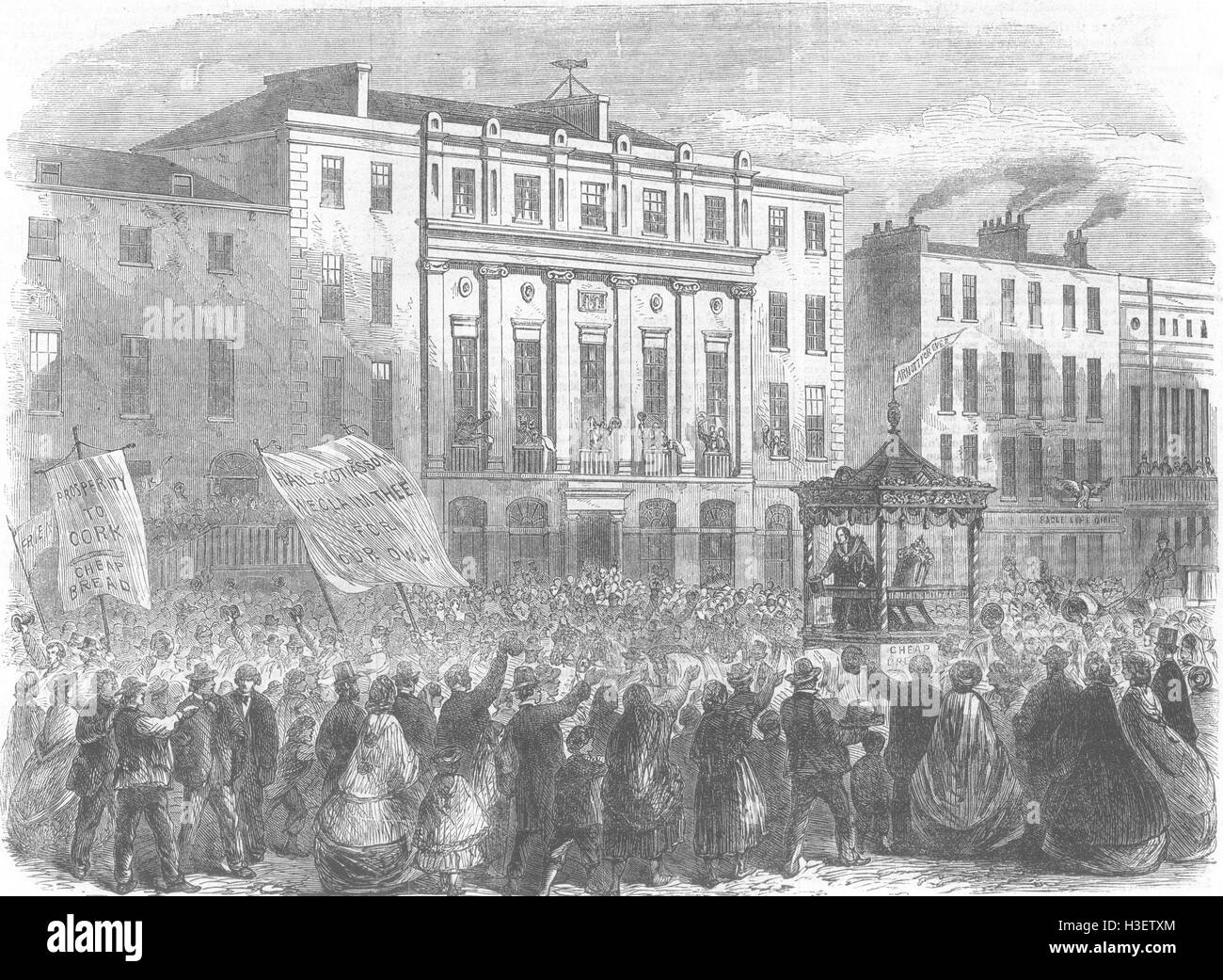 IRELAND Chairing mayor, completion of his term, Cork 1862. Illustrated London News - Stock Image